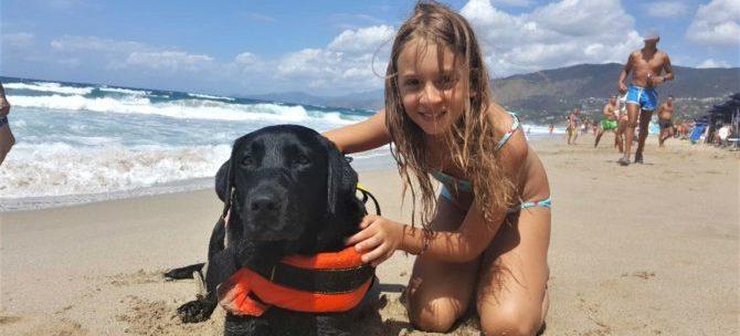 Salvata in mare da Lux, cane bagnino